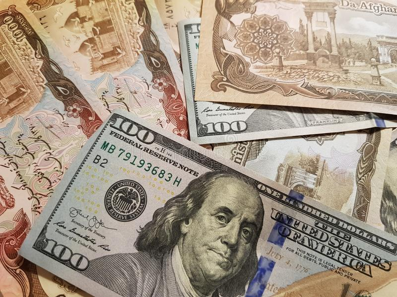 Afghanistan and the United States Join in the trade and economy, banknotes Use it as a Forex or Financial.  stock photo