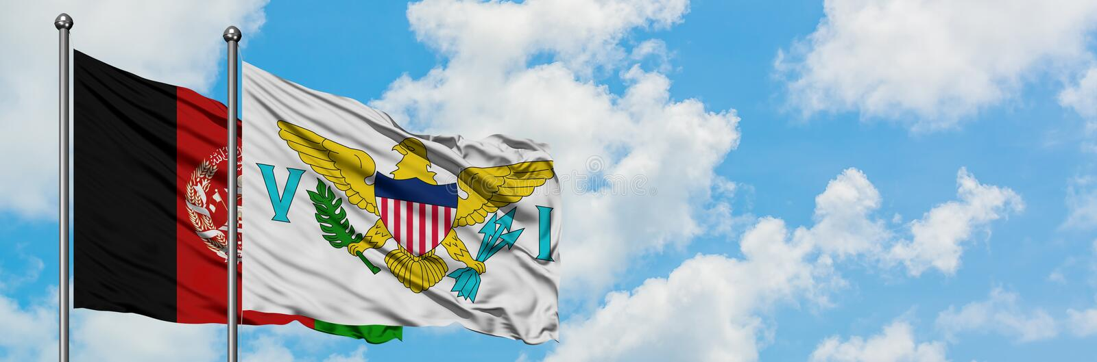 Afghanistan and United States Virgin Islands flag waving in the wind against white cloudy blue sky together. Diplomacy concept,. International relations stock photos