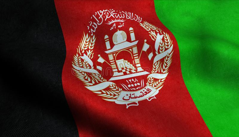 Afghanistan vinkande flagga i 3D royaltyfri illustrationer