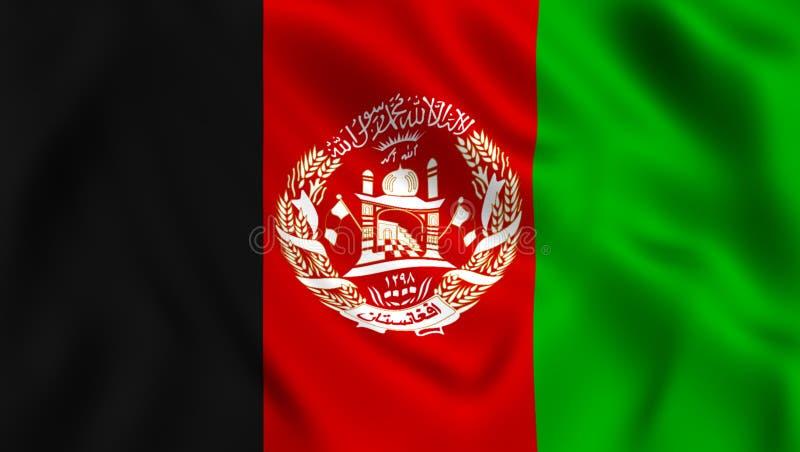 Afghansk flagga som vinkar i vinden vektor illustrationer