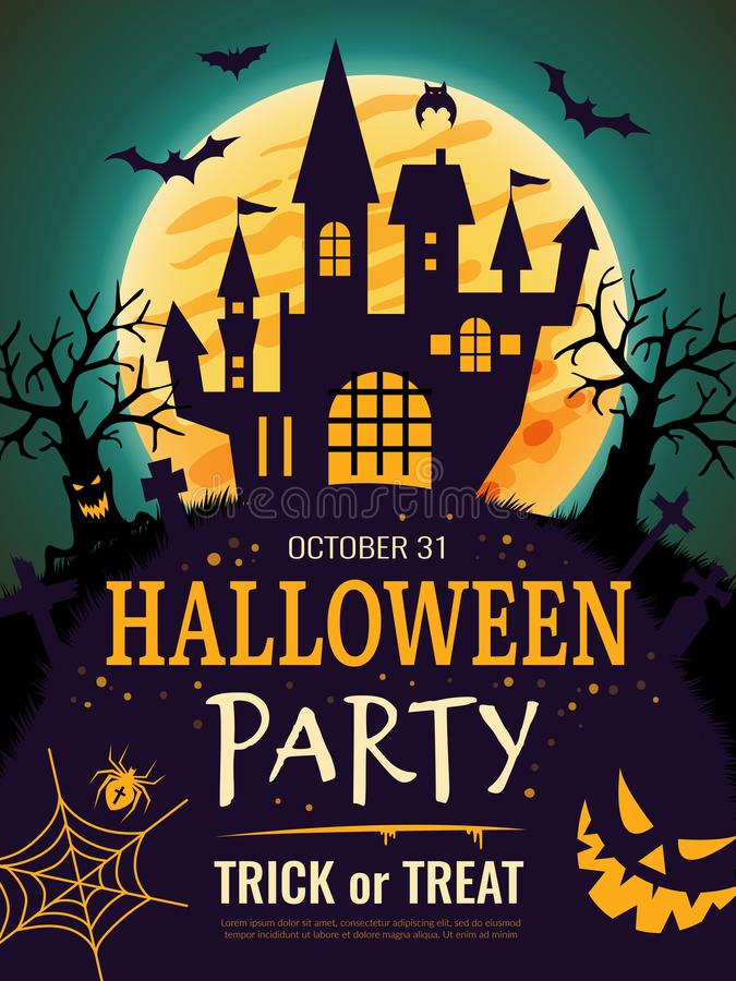 Afiche de Halloween. Plantilla de volante de invitación de partido aterradora con símbolos de horror calabaza huesos calavera ve libre illustration