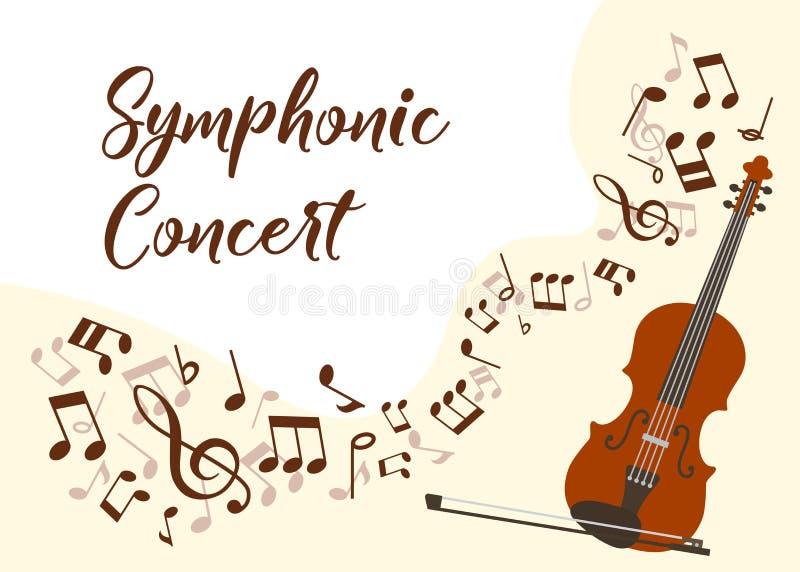 Afiche de ilustraciones vectoriales del concierto de música clásica. Orquesta sinfónica con concierto en directo de violín. Vi ilustración del vector