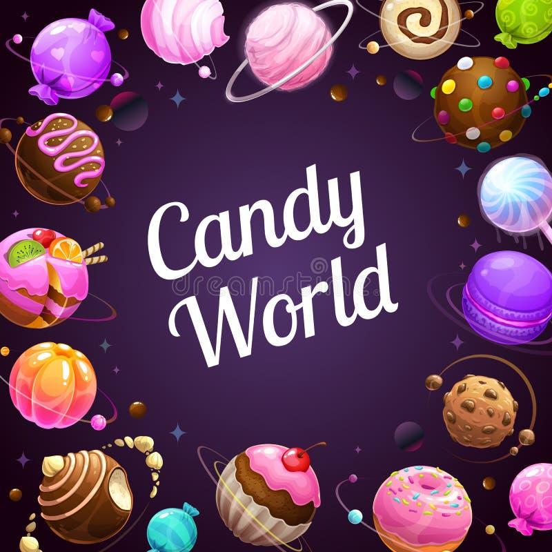 Afiche del mundo del caramelo. Donut glaseado, caramelos, pasteles, galletas, planetas chokolate ilustración del vector