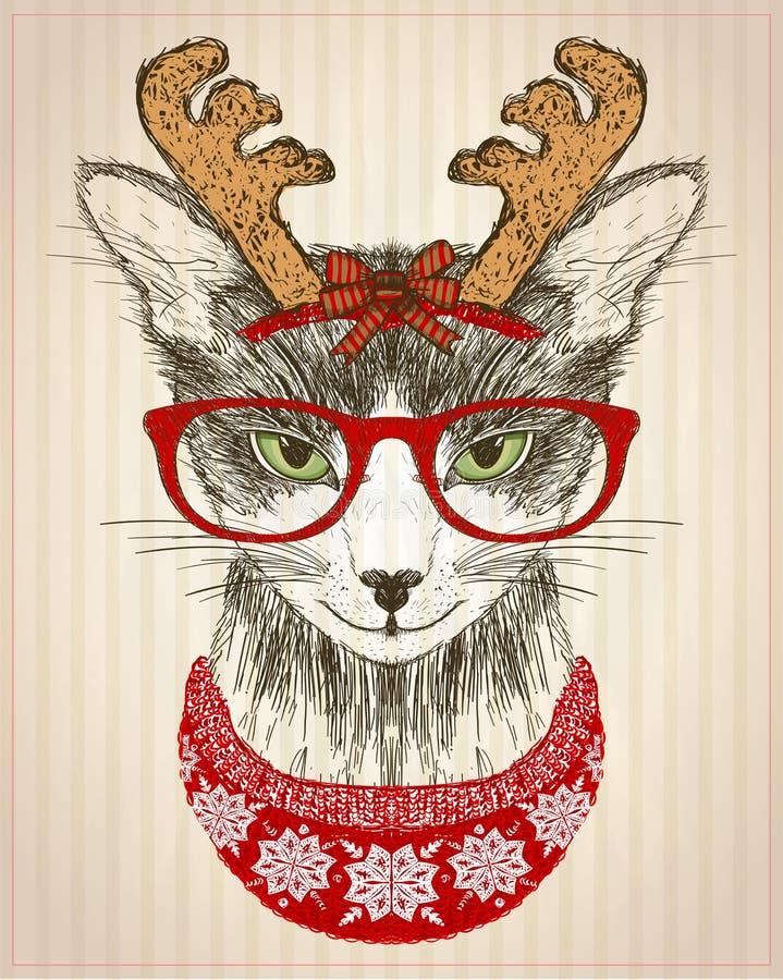 Afiche gráfico con gato hipster vestido con gafas rojas, sombrero de cuernos de ciervo y suéter de punto rojo, tarjeta de año nue ilustración del vector