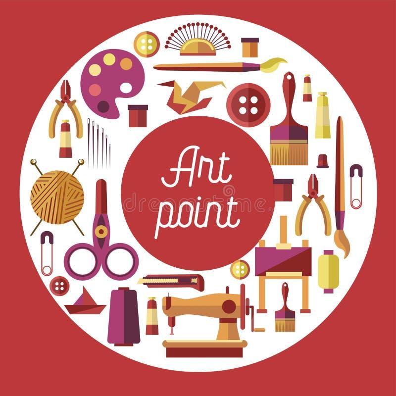 Afición del punto del arte y pintura del arte que cose y que repara ilustración del vector