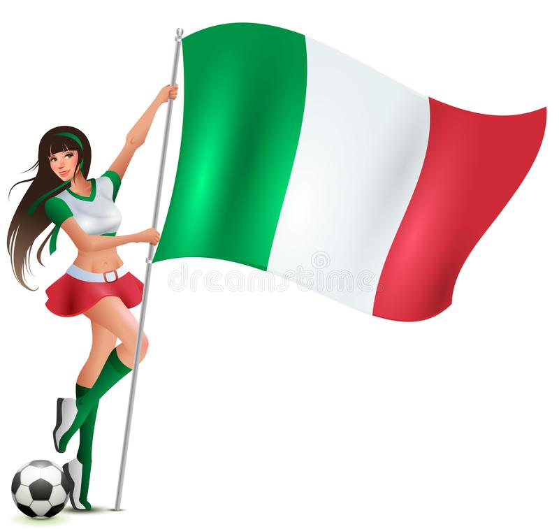 Aficionado al fútbol italiano de la mujer de la belleza que sostiene la bandera stock de ilustración
