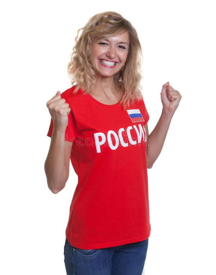 Aficionado al fútbol ruso feliz imágenes de archivo libres de regalías