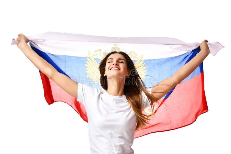 Aficionado al fútbol ruso feliz con la celebración de la bandera nacional o la griterío de grito imagen de archivo