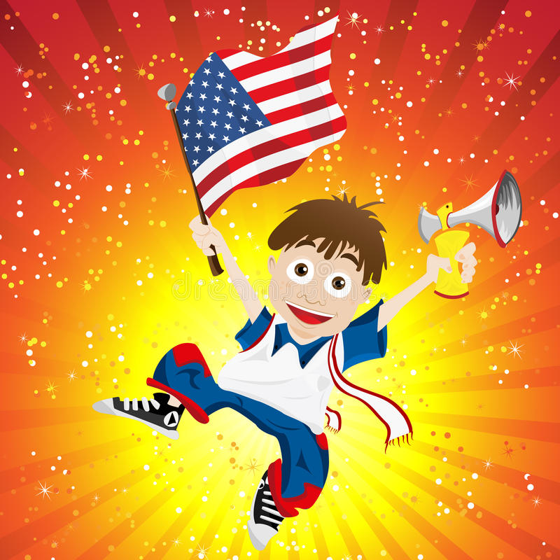 Aficionado deportivo de los Estados Unidos de América con el indicador stock de ilustración