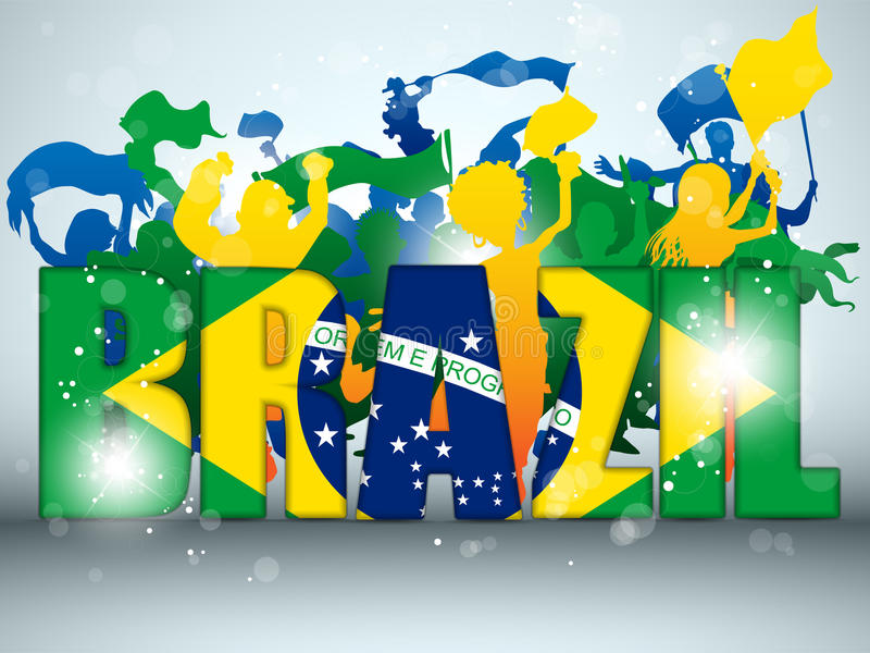 Aficionado deportivo del Brasil con el indicador y el claxon ilustración del vector