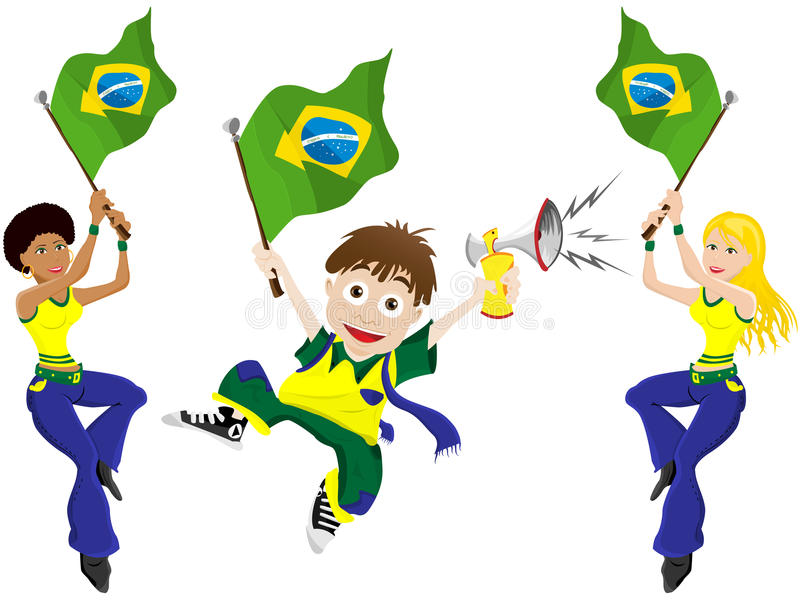 Aficionado deportivo del Brasil con la bandera y el cuerno stock de ilustración