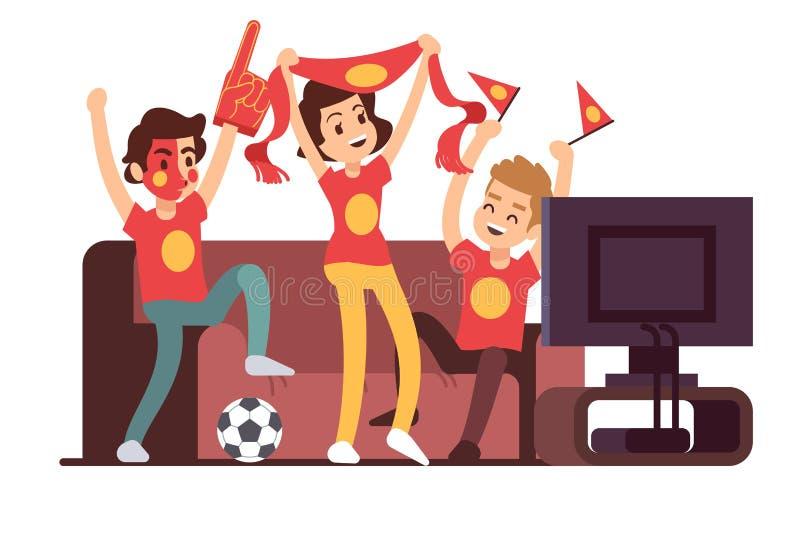 Aficionados al fútbol y amigos que ven la TV en el sofá Ejemplo favorable del vector de la gente del partido de fútbol stock de ilustración