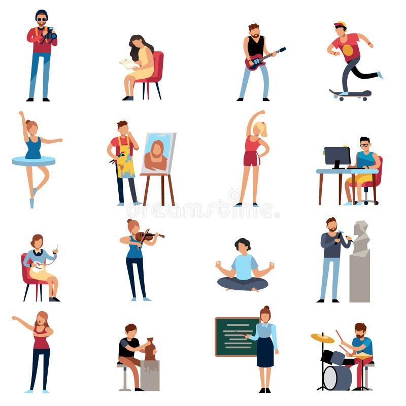 Aficiones de la gente Sistema adolescente feliz del vector de la historieta del diseñador del ilustrador del escritor del artista libre illustration