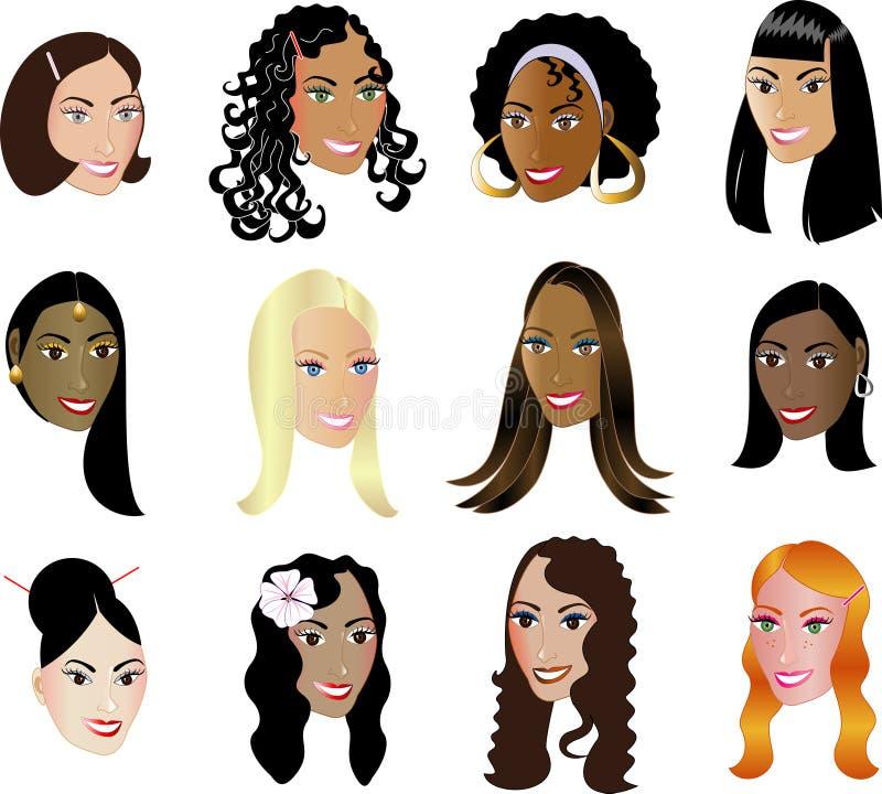 A afiliação étnica da diversidade das faces das mulheres considera minha outro! ilustração do vetor