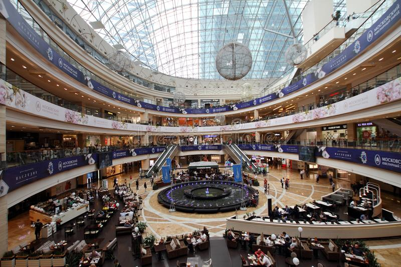 Afimall City Shopping Center in the business center of Moscow. stock photo