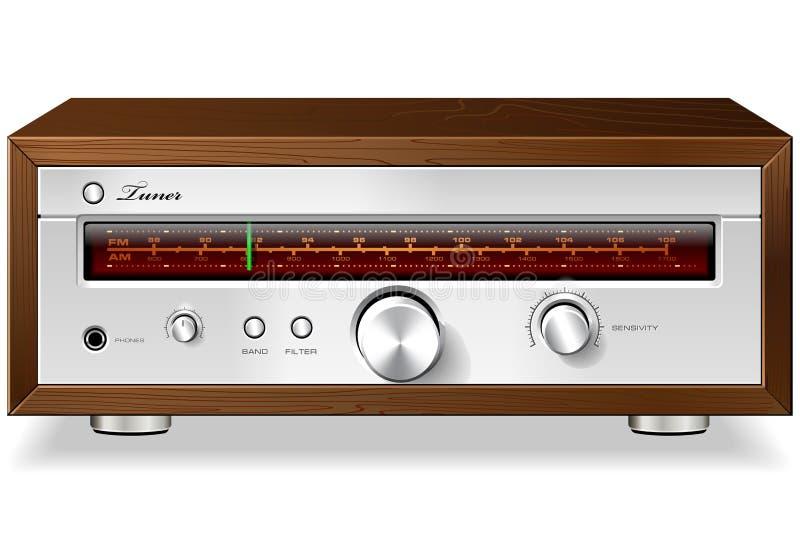 Afinador de rádio análogo estereofônico do vintage no caso de madeira V ilustração stock