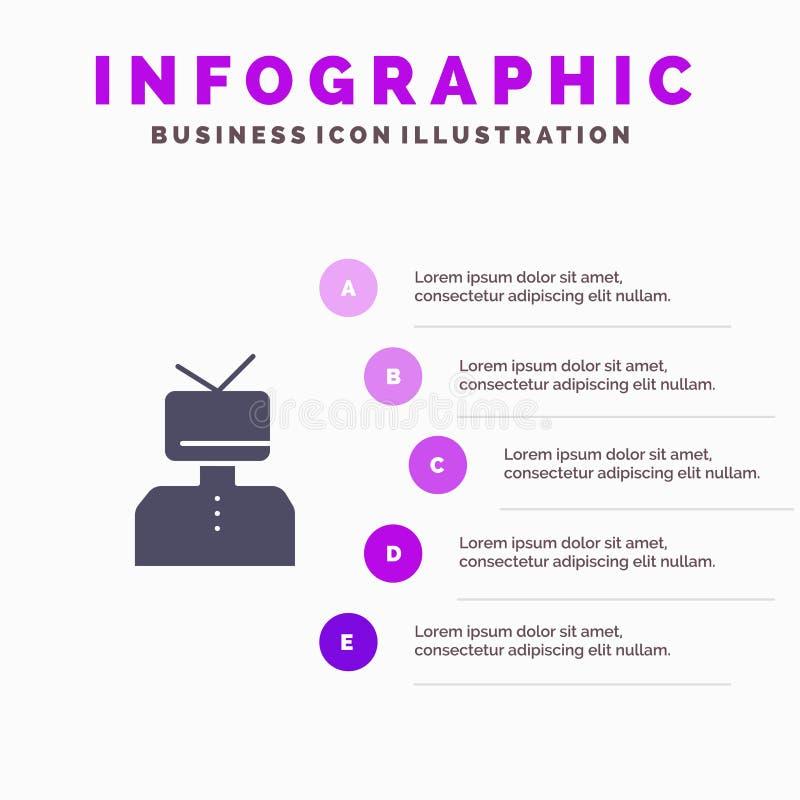 Afirmação, afirmações, estima, feliz, fundo contínuo da apresentação das etapas de Infographics 5 do ícone da pessoa ilustração stock