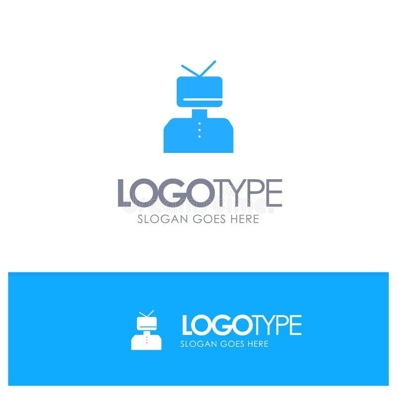 Afirmação, afirmações, estima, feliz, logotipo contínuo azul da pessoa com lugar para o tagline ilustração royalty free