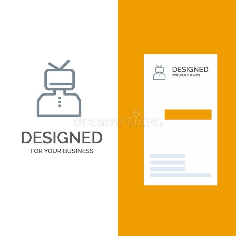 Afirmação, afirmações, estima, feliz, pessoa Grey Logo Design e molde do cartão ilustração royalty free