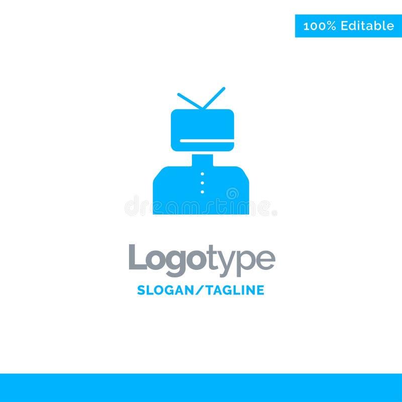 Afirmação, afirmações, estima, feliz, pessoa Logo Template contínuo azul Lugar para o Tagline ilustração royalty free