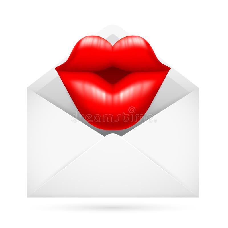 Afixe o envelope com beijo ilustração do vetor