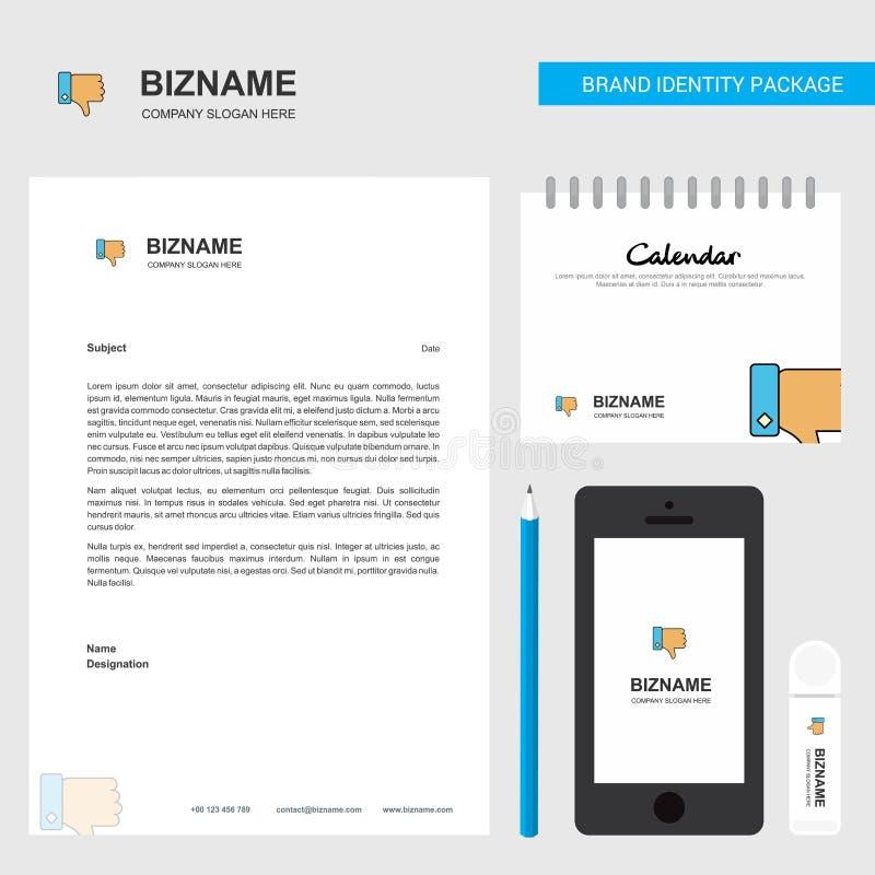 Afkeer Bedrijfsbriefhoofd, Kalender 2019 en het vectormalplaatje van het Mobiele toepassingontwerp vector illustratie