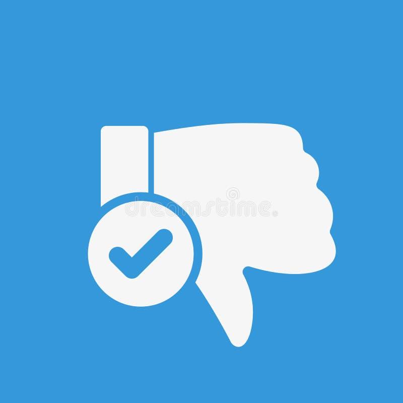 Afkeerpictogram, gebarenpictogram met controleteken Het afkeerpictogram en goedgekeurd, bevestigt, gedaan, tik, voltooid symbool stock illustratie
