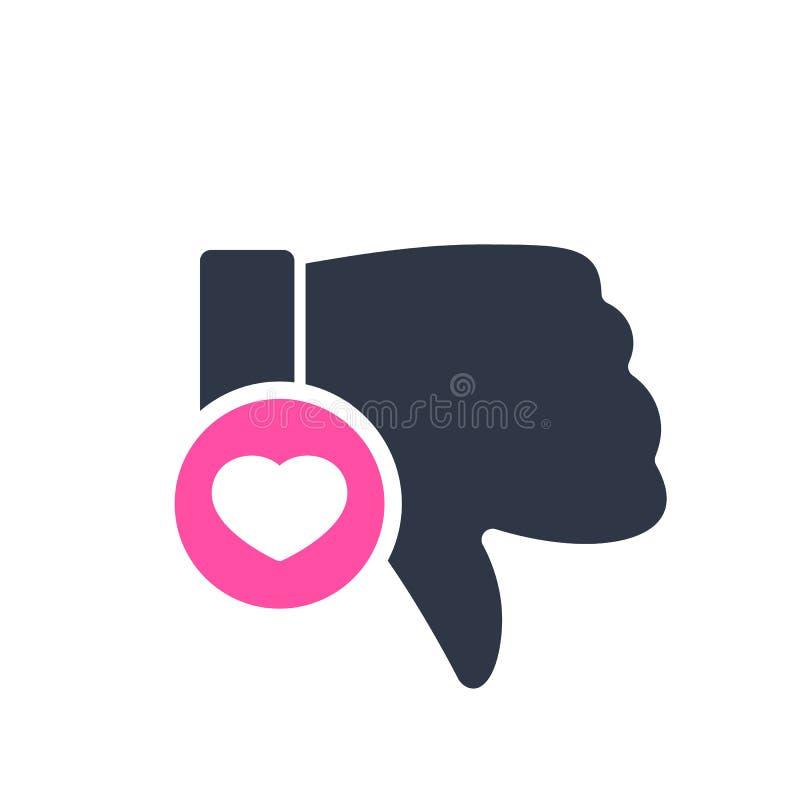 Afkeerpictogram, gebarenpictogram met hartteken Afkeerpictogram en favoriet, als, liefde, zorgsymbool stock illustratie