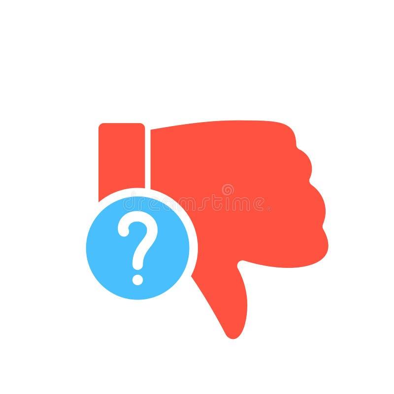 Afkeerpictogram, gebarenpictogram met vraagteken Afkeerpictogram en hulp, hoe te, informatie, vraagsymbool vector illustratie