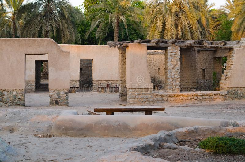 Aflaj village ruins in creek park royalty free stock photography