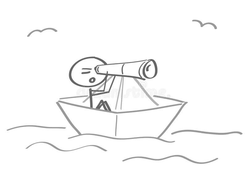 A aflição do naufrágio encalhou binóculos do navio do papel do navio ilustração do vetor
