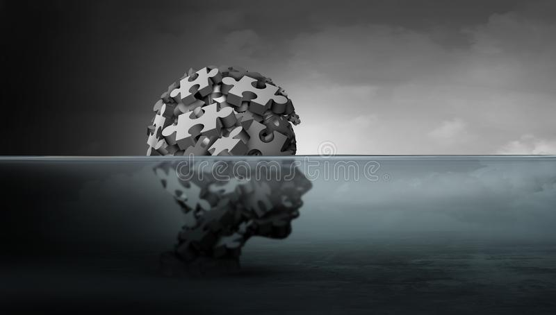 Aflição psicológica das crianças e do conceito da saúde mental de psicologia de criança como um símbolo da juventude vulnerável q ilustração stock