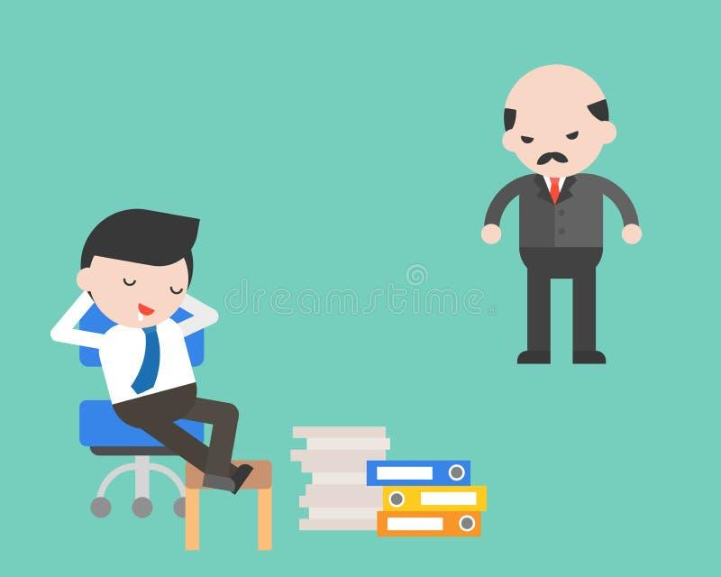 Afloje apagado al hombre de negocios con el jefe enojado, concepto del negocio stock de ilustración