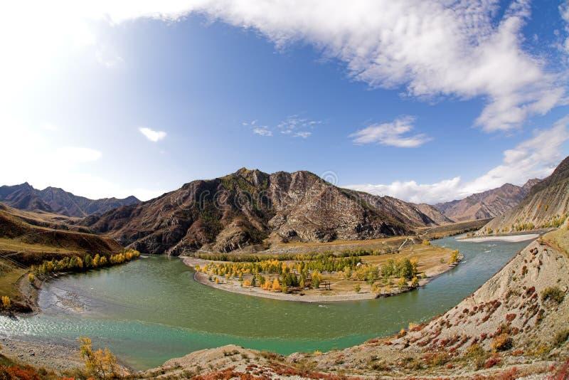 Afluência dos rios de Chuya e de Katun fotos de stock royalty free