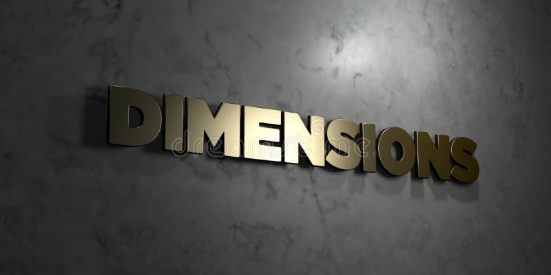 Afmetingen - Gouden tekst op zwarte achtergrond - 3D teruggegeven royalty vrij voorraadbeeld vector illustratie