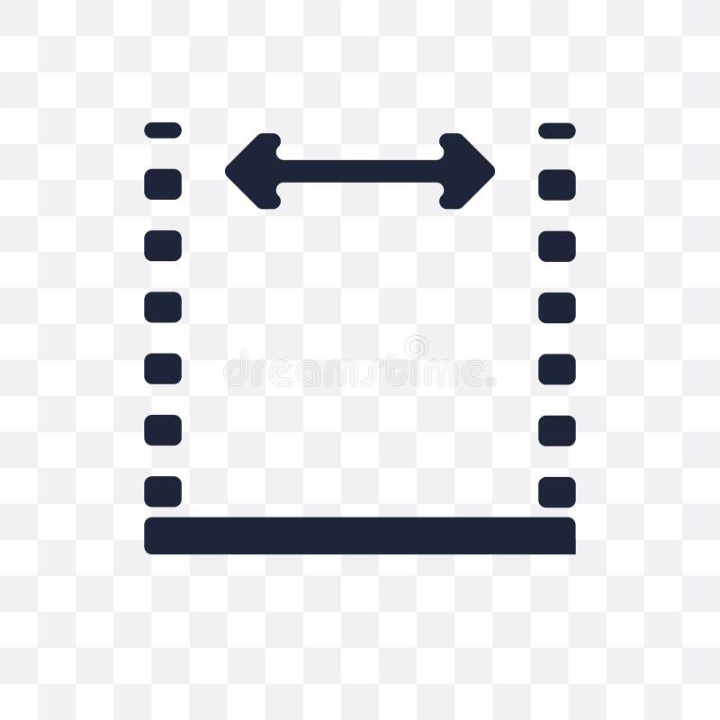 Afmetingen transparant pictogram Het ontwerp van het afmetingensymbool van Geome vector illustratie