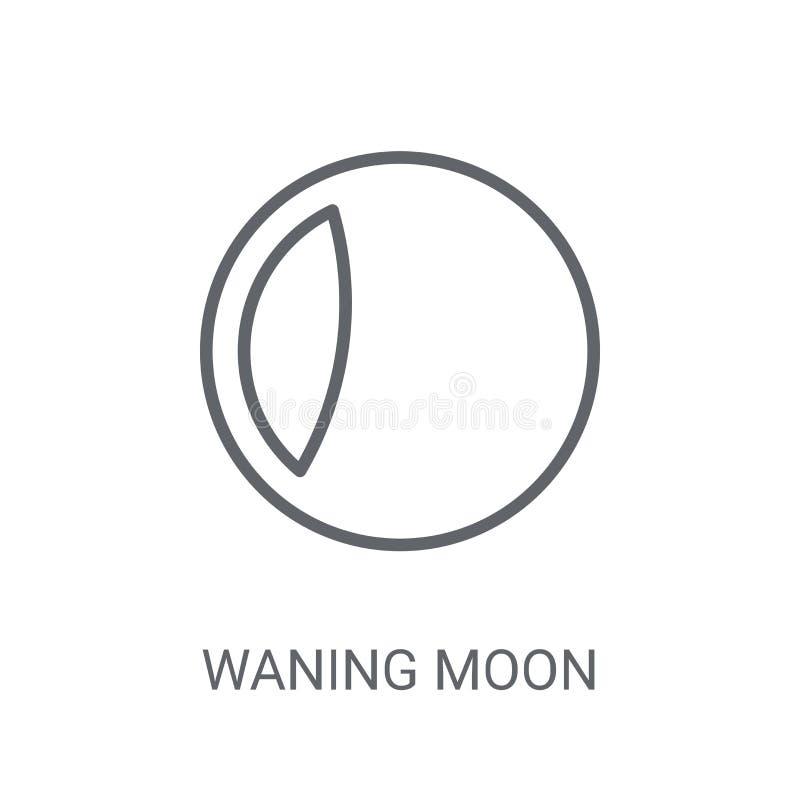 Afnemend maanpictogram Het in Afnemende concept van het maanembleem op witte backg royalty-vrije illustratie