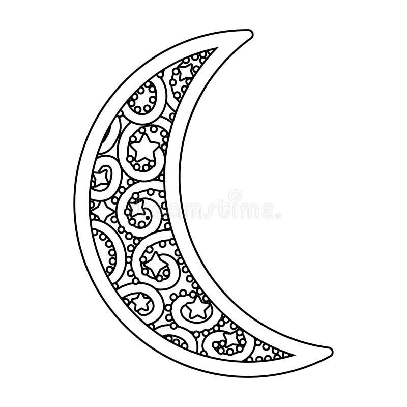 Afnemend zwart-wit maanpictogram royalty-vrije illustratie