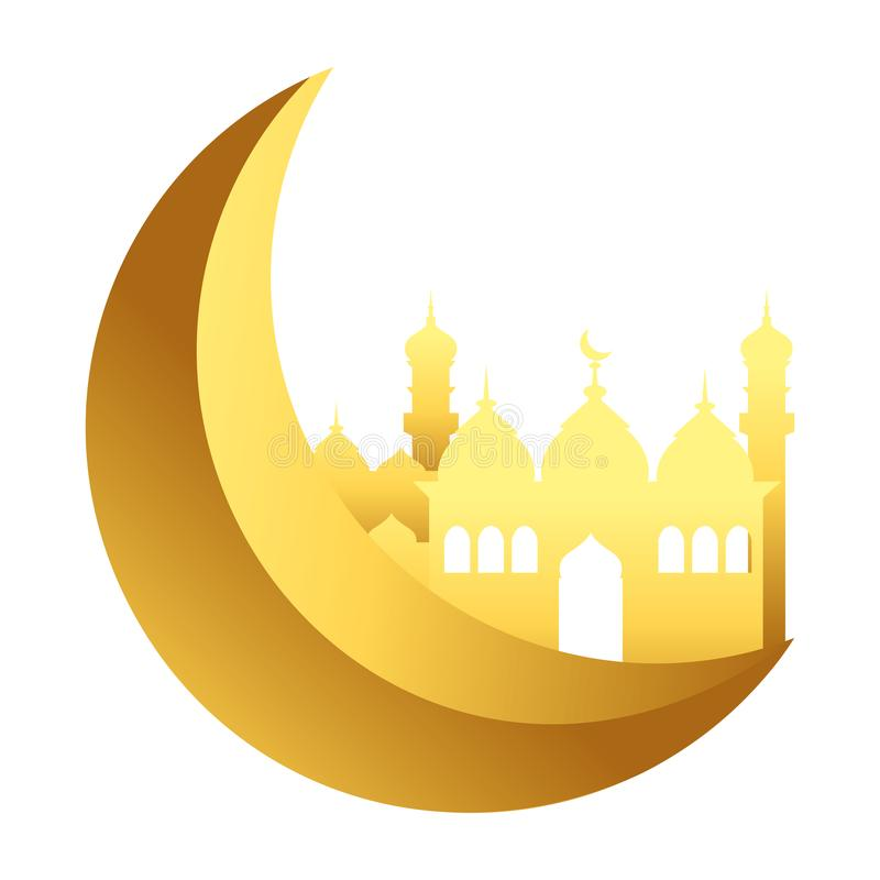 Afnemende maan met de Islamitische bouw vector illustratie