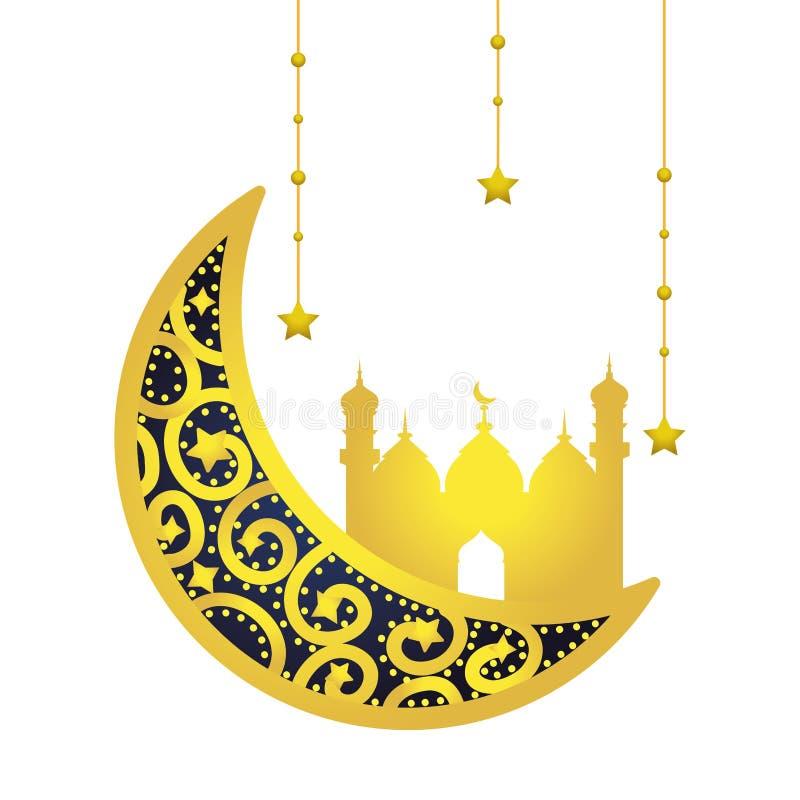 Afnemende maan met de Islamitische bouw royalty-vrije illustratie