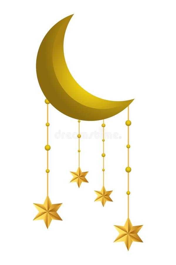 Afnemende maan met het hangen van sterren vector illustratie