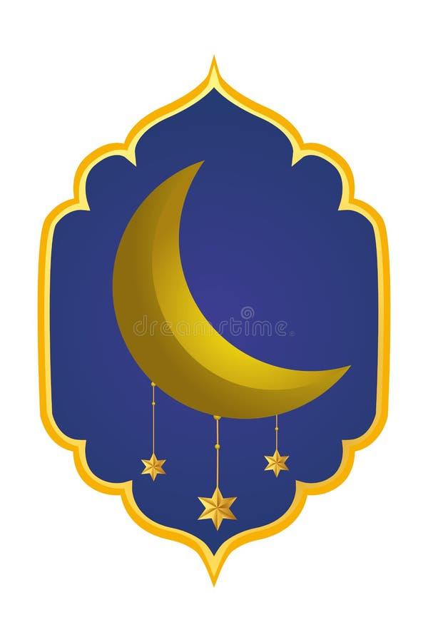 Afnemende maan met het hangen van sterren stock illustratie