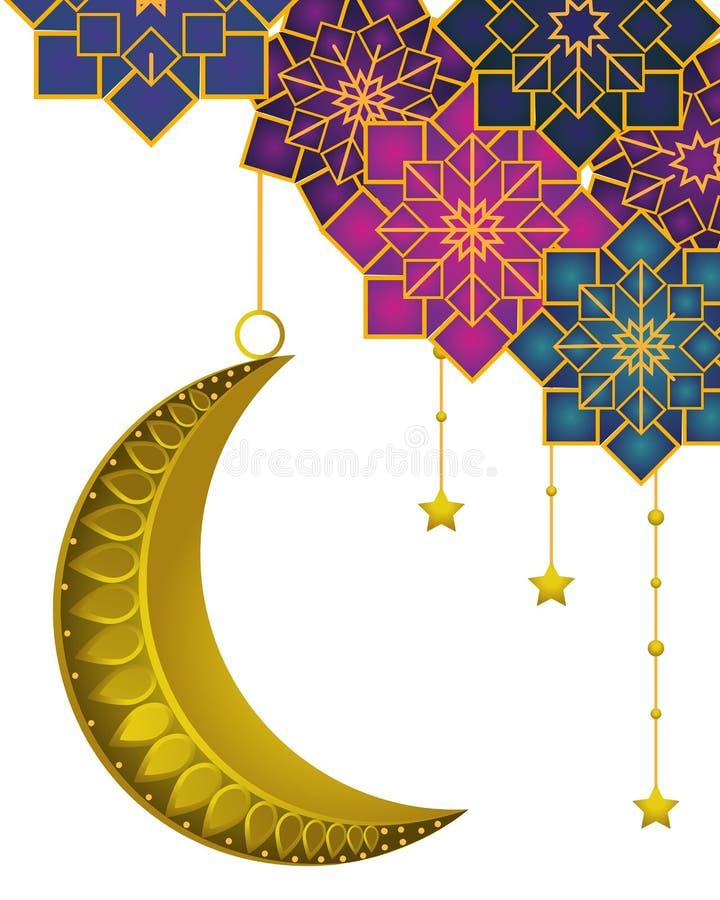 Afnemende maan met het hangen van sterren royalty-vrije illustratie