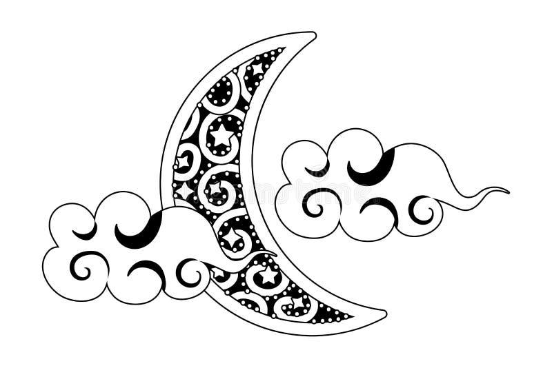 Afnemende maan met zwart-witte wolken stock illustratie