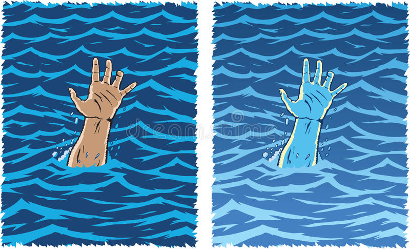 Afogando a mão ilustração stock