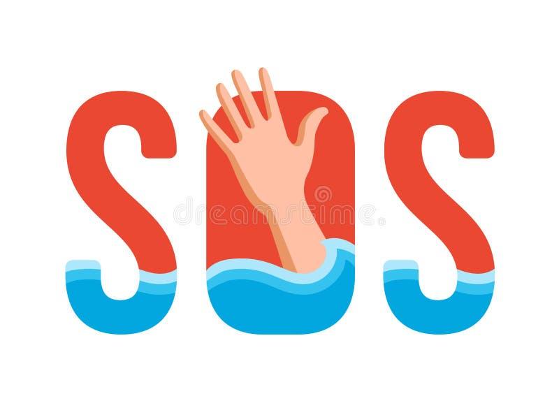 Afogando o homem na água ilustração stock