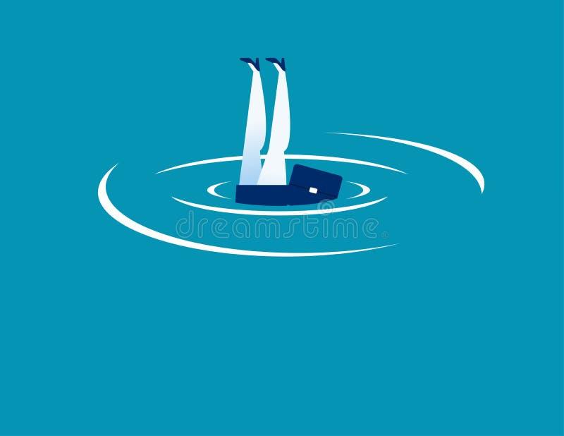 afogar-se Salto da mulher de negócios e de água Ilustração do vetor do negócio do conceito ilustração stock