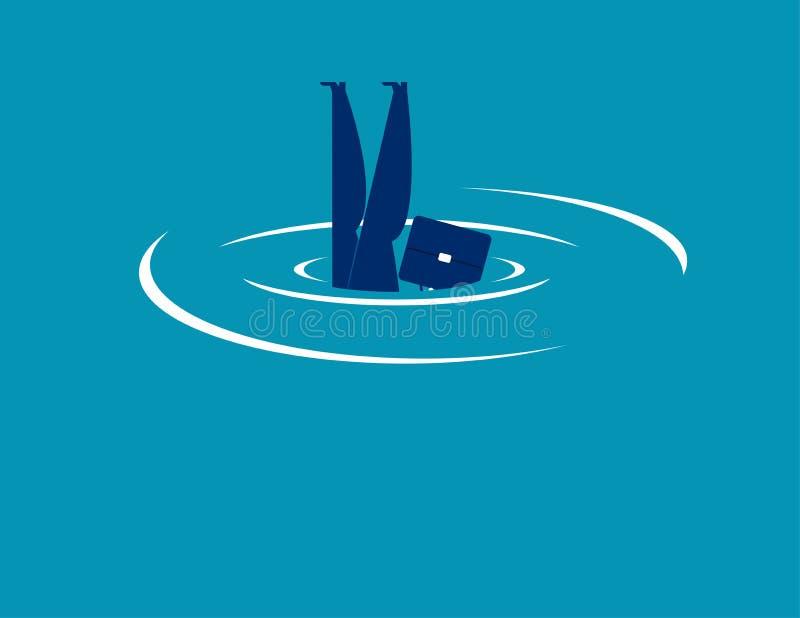 afogar-se Salto do homem de negócios e de água Ilustração do vetor do negócio do conceito ilustração stock