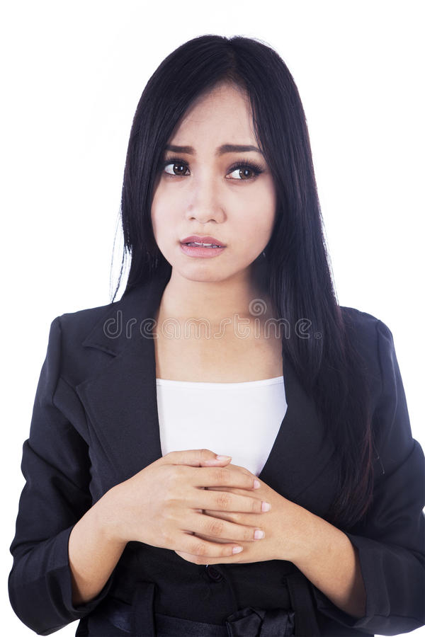 Download Afraid Businesswoman Isolated In White Stock Image - Image: 27951129