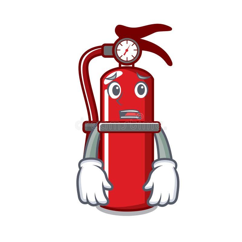 Afraid fire extinguisher mascot cartoon. Vector illustration vector illustration